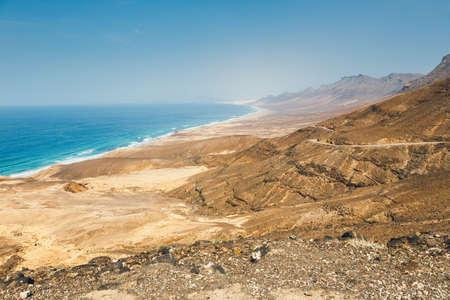 playa: View of Cofete beach in Fuerteventura Island, Spain Stock Photo