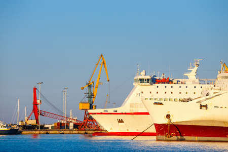 warehouse building: ship in the sea port of Heraklion on Crete, Greece