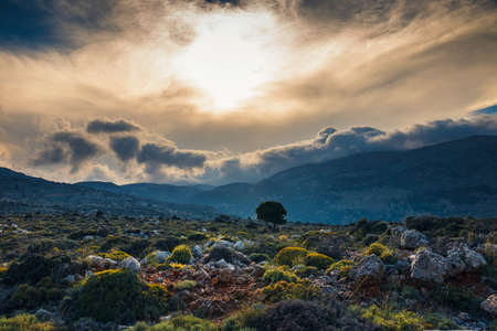 Beautiful mountain landscape near Kritsa Village, Katharo Plateau, Crete, Greece