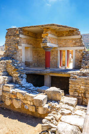 restored: Scenic ruins of the Minoan Palace of Knossos on Crete, Greece