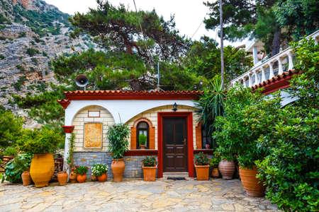The monastery Agios Georgios, located in the Selinari gorge on Crete, Greece