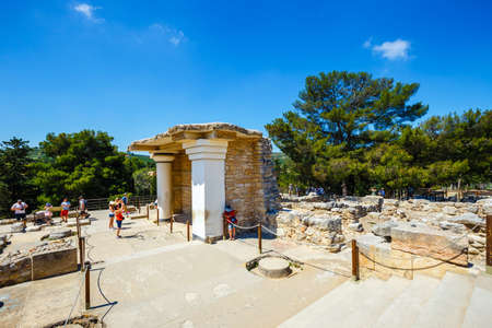 Knossos, Crete, June 10, 2017: Scenic ruins of the Minoan Palace of Knossos. Knossos palace is the largest Bronze Age archaeological site on Crete of the Minoan civilization and culture
