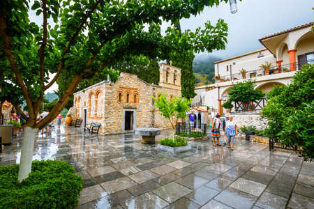 Kera, Crete Island, Greece - June 08, 2017: Unidentified people visit ancient Monastery Kera Kardiotissa on Crete. Greece Editorial