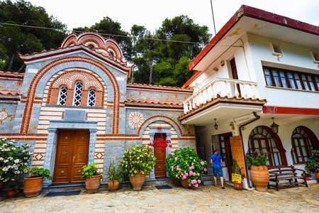 Crete Island, Greece - June 08, 2017: The monastery Agios Georgios, located in the Selinari gorge on Crete, Greece Editorial