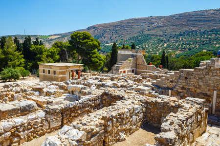 Toneelruïnes van het Minoïsche Paleis van Knossos op Kreta, Griekenland