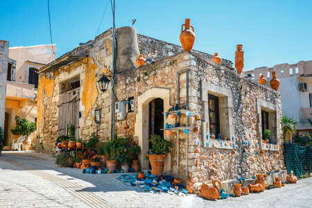 characteristic: Traditional creten village Margarites famous for handmade ceramics, Crete, Greece Stock Photo