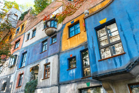 VIENNA, AUSTRIA - October 14, 2016: Facade of Huntdertwarsser house in Vienna. The Hundertwasser House is one of Vienna's most visited buildings and has become part of Austria's cultural heritage Sajtókép