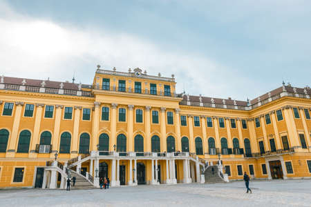 rococo: Vienna, Austria, October 14, 2016: Schonbrunn Palace in Vienna. Baroque palace is former imperial summer residence located in Vienna, Austria Editorial