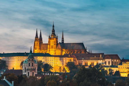 View of historical center of Prague during beautiful sunset with castle, Hradcany, Czech Republic Stock Photo