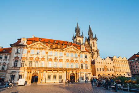 the old town hall: Prague, Czech Republic, Semptember 29, 2017:  view of Old Town square in Prague in a beautiful autumn day, Czech Republic