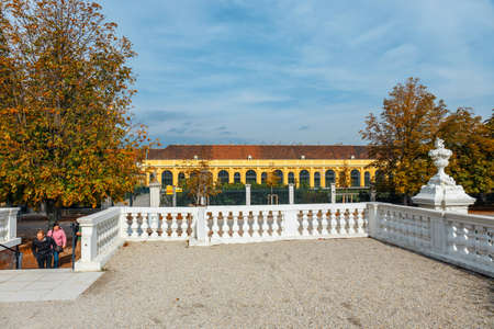 schoenbrunn: Vienna, Austria, October 14, 2016: Schonbrunn Palace in Vienna. Baroque palace is former imperial summer residence located in Vienna, Austria Stock Photo
