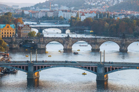 View of Charles Bridge and Vltava river in Prague, Czech Republic Stock Photo