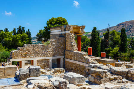 Knossos, Crete, June 10, 2017: Scenic ruins of the Minoan Palace of Knossos. Knossos palace is the largest Bronze Age archaeological site on Crete of the Minoan civilization and culture