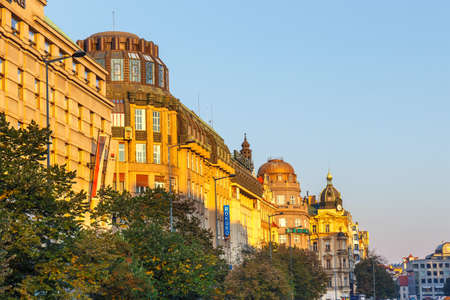 Prague, Czech Republic, September 29, 2017: Buildings in Wenceslas Square in historic centre of Prague, Czech Republic