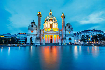 VIENNA, AUSTRIA - October 15 2016: Night view of famous Saint Charless Church at Karlsplatz in Vienna, Austria Editorial