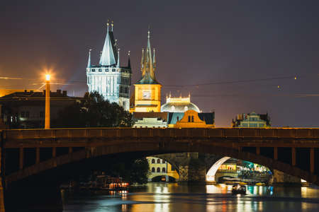 View of  Charles Bridge and Vltava river at night in Prague, Czech Republic Stock Photo