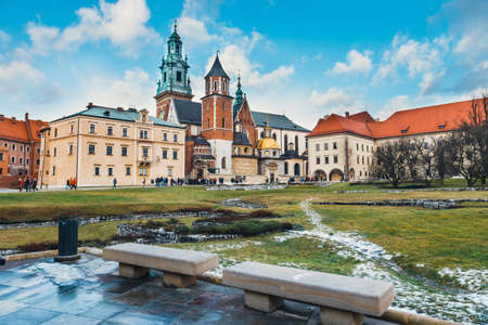 Krakow, Poland - January 04, 2015: The inner courtyard of Wawel Castle in Cracow, Poland