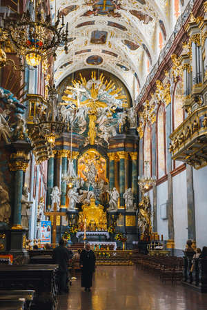 Czestochowa, Poland, 29 April 2015: Interior of the Jasna Gora sanctuary in Czestochowa, Poland. Very important and most popular pilgrimary place in Poland Editorial
