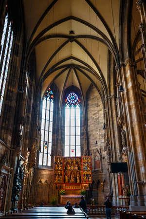 VIENNA, AUSTRIA - October 15, 2016: Interior of St. Stephens Cathedral in Vienna, Austria Editorial