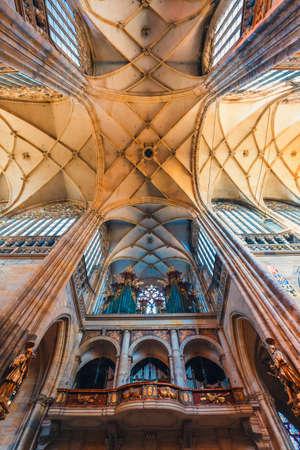 Czech Republic, Prague - September 30, 2017: Interior of St. Vitus Cathedral at Prague Castle, Czech Republic