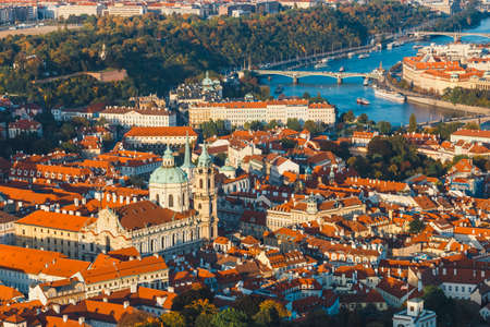 Aerial view of old town in Prague, Czech republic, red tile roofs