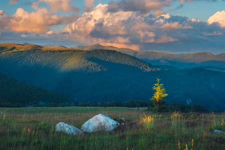 Beautiful sunset over Parang Mountains in Romania