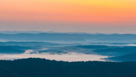 Foggy landscape in Bieszczady Mountains, Poland, Europe
