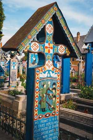 SAPANTA, ROMANIA - 04 JULY, 2015- The merry cemetery of Sapanta, Maramures, Romania. Those cemetery is unique in Romania and in the world