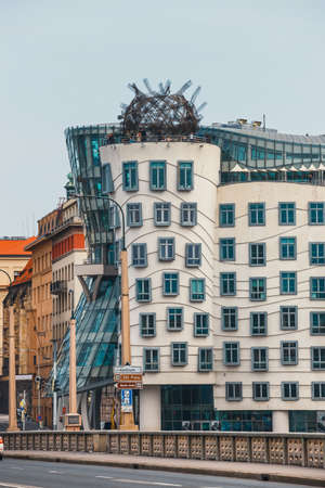 Prague, Czech Republic, October 01, 2017: Dancing House - modern building designed by Vlado Milunic and Frank O. Gehry, Prague
