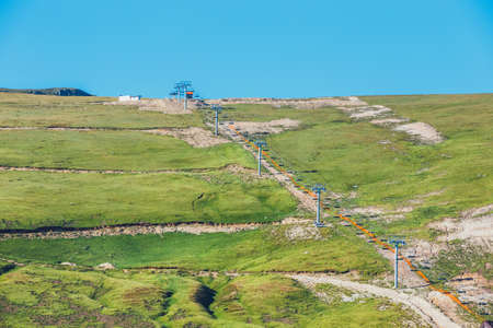 Ski lift in Parang Mountains in Romania