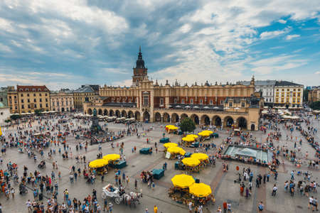 Krakow, Poland, August 14, 2016: Aerial view on the central square of Krakow, Poland Editorial
