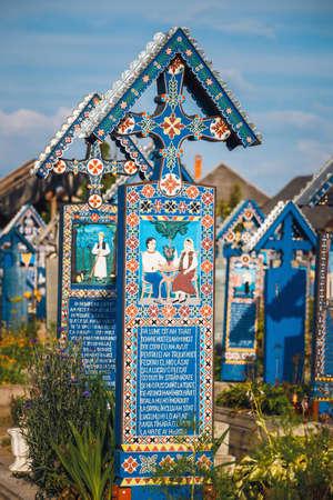 SAPANTA, ROMANIA - 04 JULY, 2015- The merry cemetery of Sapanta, Maramures, Romania. Those cemetery is unique in Romania and in the world Standard-Bild - 92693813