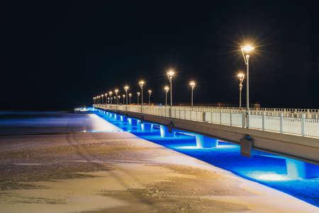 Concrete pier in Kolobrzeg, long exposure shot at night