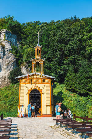 Ojcow, Poland, August 05, 2016: Chapel on the water in Ojcow National Park near Krakow. Chapel was built in 1901 Editorial