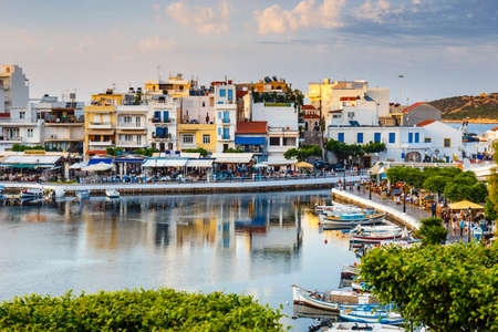 Agios Nikolaos, Crete, Greece - June 08, 2017: Agios Nikolaos town at summer afternoon. Agios Nikolaos is one of the most touristic cities on Crete island, Greece