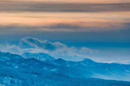 Panorama of the High Tatra Mountains in the evening, Poland