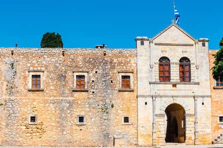 Basilica of Arkadi Monastery on Crete Island, Greece Stock Photo