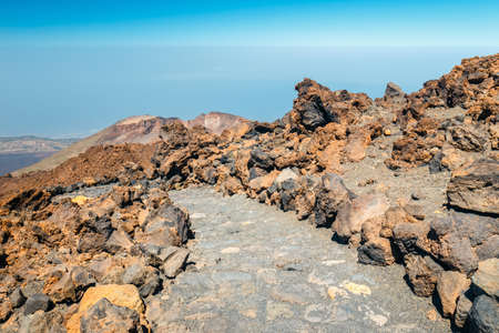 mountain path at the top of el teide volcano, Tenerife, Spain Stock Photo