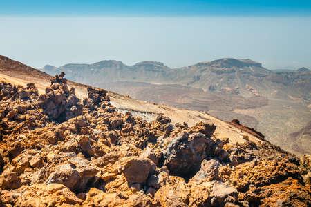 Mountain path at the top of el teide volcano, Tenerife, Spain