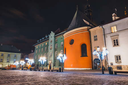 Krakow, Poland, December 15, 2017: Night view of Main Market Square in Krakow. Krakow is one of the most beautiful city in Poland