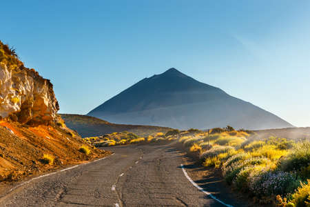Sunset over Teide volcano in Tenerife, Canary island, Spain Stock Photo