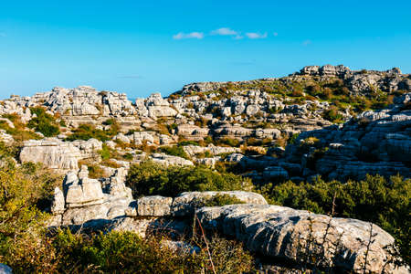Karst landscape in El Torcal de Antequera natural park, Andalusia, Spain