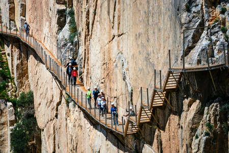 Caminito del Rey, Spain, April 04, 2018: Tourists walk along the El Caminito del Rey, Malaga, Spain