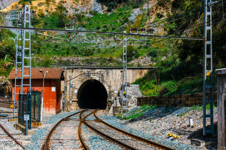 railway station in the village of el chorro at the end of trail of Caminito Del Rey, Spain 免版税图像