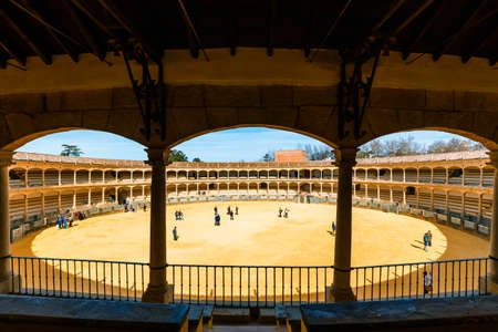 Ronda, Spain, April 05, 2018: Bullring in Ronda is one of the oldest and most famous bullfighting arena in Andalusia, Spain 新聞圖片
