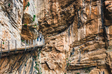Caminito Del Rey, Spain, April 04, 2018: Visitors walking along the  World's Most Dangerous Footpath reopened in May 2015. Ardales, Spain. Redactioneel