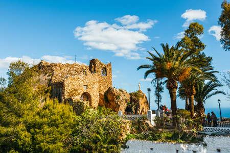 Mijas, Spain, April 08, 2018: Tourists visit Virgen de la Pena chapel ( Virgin of the Rock) in Mijas. Andalusia, Spain