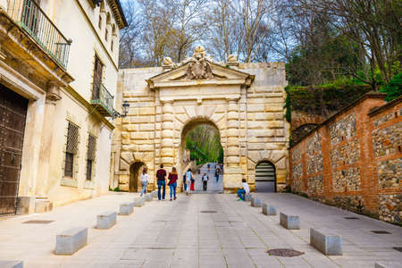 Granada, Spain, April 06, 2018: Gate of Justice (Puerta de la Justicia), gate to Alhambra complex in Granada, Spain