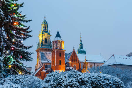 Wawel Castle in Krakow at twilight. Krakow is one of the most famous landmark in Poland Editorial