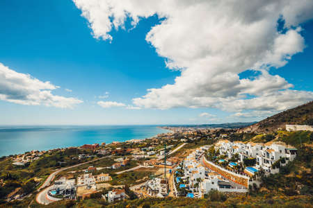 view from the viewpoint over the hill near The Buddhist Stupa, Benalmadena, Spain